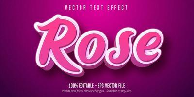 effet de texte de style script rose 3d rose vecteur