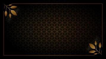 cadre doré avec feuillage d'angle sur motif cube vecteur