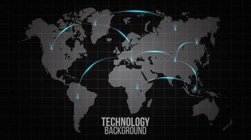 carte mondiale avec des lignes lumineuses montrant la connexion réseau vecteur