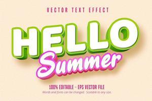 bonjour effet de texte contour vert et rose été