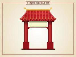 entrée chinoise avec toit rouge et signe vierge vecteur