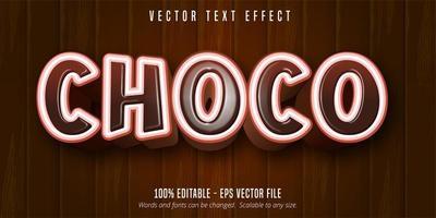 effet de texte de style dessin animé choco marron et blanc