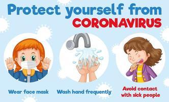 infographie pour savoir comment se protéger contre le coronavirus vecteur