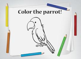 feuille de travail à colorier perroquet vecteur