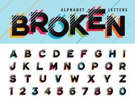 glitch lettres et chiffres de l'alphabet vecteur