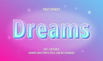texte de rêves modifiable pastel néon vecteur