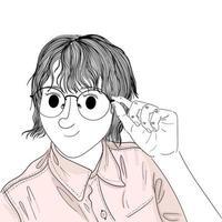 femme dessinée à la main, tenant des lunettes