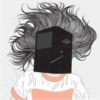 femme dessinée à la main dans son lit avec un livre sur le visage