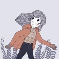 femmes, porter, manteau hiver, et, courant, dans parc