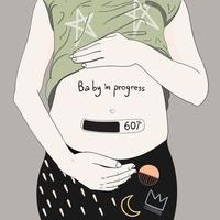 femme enceinte avec bébé en cours compteur vecteur