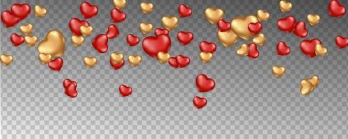 fond romantique avec des coeurs qui tombent vecteur