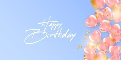 fond festif d'anniversaire avec des ballons d'hélium en forme de coeur
