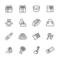 ensemble de cadeau présente le jeu d'icônes