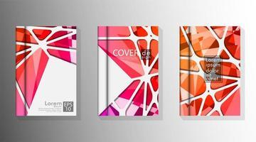 livre à couverture avec un fond géométrique rouge et orange