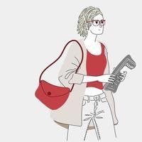 femmes portant des journaux vecteur