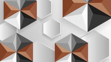 fond de forme hexagonale 3d marron et gris vecteur