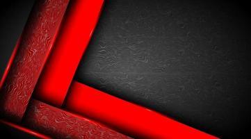 fond abstrait noir avec des formes de papier rouge qui se chevauchent vecteur