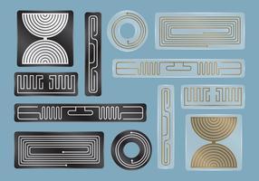 Étiquettes RFID noires et transparentes vecteur