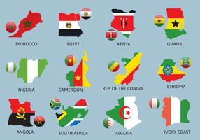 Cartes de l'Afrique vecteur