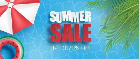 bannière de vente d'été avec piscine vecteur