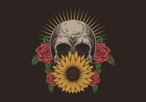 décoration fleur crâne