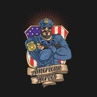 officier de police et insigne vecteur