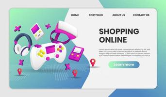 shopping page de destination de site Web en ligne avec des éléments de jeu vidéo vecteur