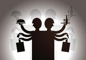 Illustration de vecteur de marionnette d'ombre de serveuse gratuite