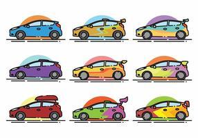 Ensemble d'icônes minimalistes Ford Fiesta vecteur