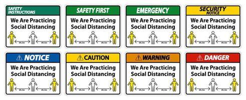 nous pratiquons un ensemble de signes de distanciation sociale vecteur