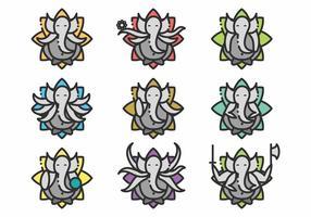 Ensemble d'icônes Minimalist Ganesh vecteur