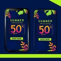 fond de marketing mobile de feuilles tropicales vecteur