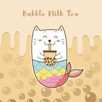 joli chat sirène buvant du thé au lait à bulles vecteur