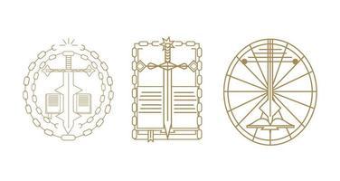 trois icônes créatives modernes de croix, épée et bible
