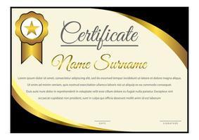 certificat de coin incurvé dégradé horizontal noir et jaune