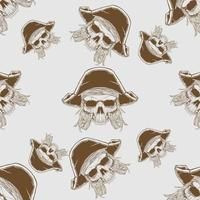 modèle sans couture de crâne de pirate dessiné à la main