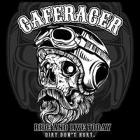 affiche de crâne barbu de café racer vecteur