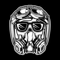 crâne portant un casque et un masque à gaz