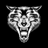 Tête de loup rugissant dessin à la main