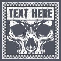 visage de crâne de style vintage dans le cadre de texte à carreaux