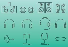 Écouteurs et icônes de haut-parleur vecteur
