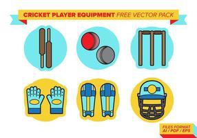 Équipement de joueur de cricket pack vecteur gratuit