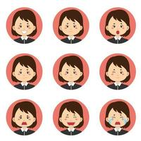 femme d'affaires en avatar noir avec diverses expressions