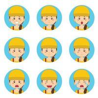 avatar de femme de livraison avec diverses expressions