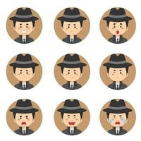 avatar détective avec diverses expressions vecteur