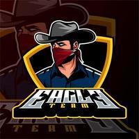 logo mafia cowboy logo de jeu esports vecteur