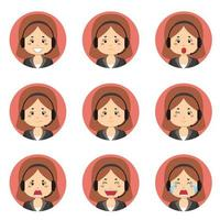 Avatar de service client féminin avec diverses expressions