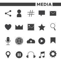 Ensemble de 20 icônes de médias sociaux