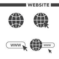 ensemble de 4 icônes www simples vecteur