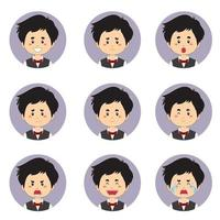 avatar de femme de ménage mâle avec diverses expressions vecteur
